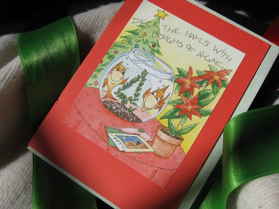 DECK THE HALLS fish bowl Christmas cards set