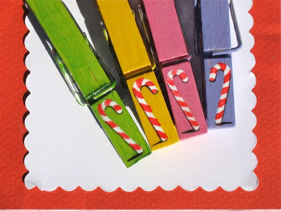 CHRISTMAS CANDY CANES hand painted magnetic clothespin set