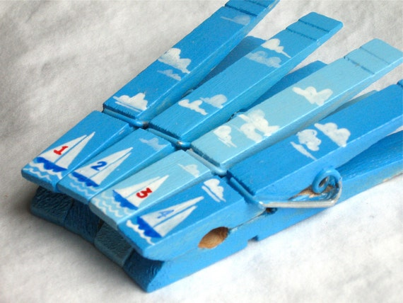 SAIL BOATS hand painted magnetic clothespin set