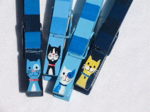 BLUE CATS hand painted magnetic clothespin set