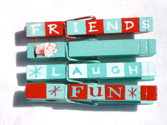 FRIENDS hand painted magnetic clothespin pegs