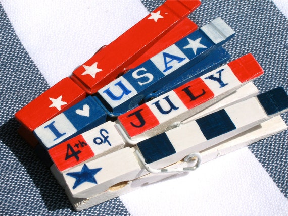 4th of JULY red white and blue hand painted magnetic clothespin set