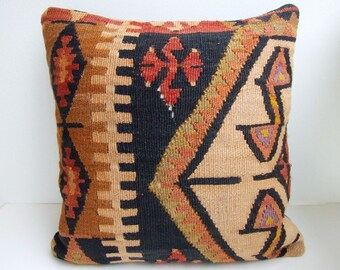 Handmade kilim (rug) pillow case -from eastern anatolia
