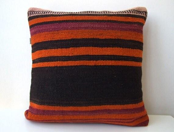"Handwoven Turkish Kilim Pillow Cover 16"" X 16"", Modern Bohemian Home Decor, Decorative Kilim Pillow,Vintage Kilim Pillow,Throw Pillow"