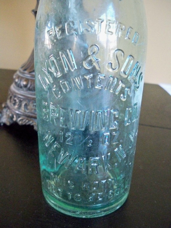 Vintage 1920s Beer Bottle Lyon and Sons Brewing Embossed