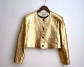 Vintage 80s Cropped Metallic Gold Leather Jacket, Size 8