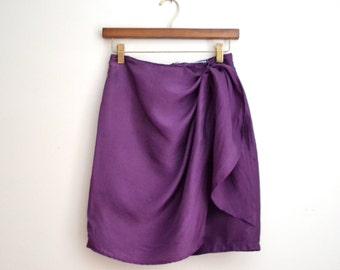 Vintage Purple Silk Wrap Skirt, Size Small// Silk Sarong Skirt