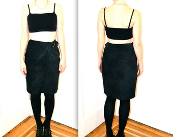 90s Vintage Suede Leather Skirt Black// Vintage Black Suede Wrap Skirt size Small Medium