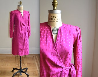Vintage Silk Wrap Dress Size Medium in Pink Magenta // Vintage Bright PInk Silk Wrap Dress Size Medium Polka Dot Pink Silk Dress