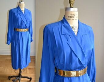 Vintage Silk Wrap Dress in Bright Blue size Medium Large// Vintage Long Sleeve Silk Shirt Dress Size Medium Large