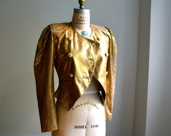 80s Gold Leather Jacket Gold Metallic Size XS Small // 80s Vintage Metallic Gold Leather Jacket with Leopard Print Size Small