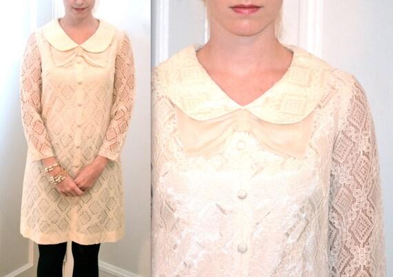 1960s Cream Lace Dress// Vintage Off White Lace Dress
