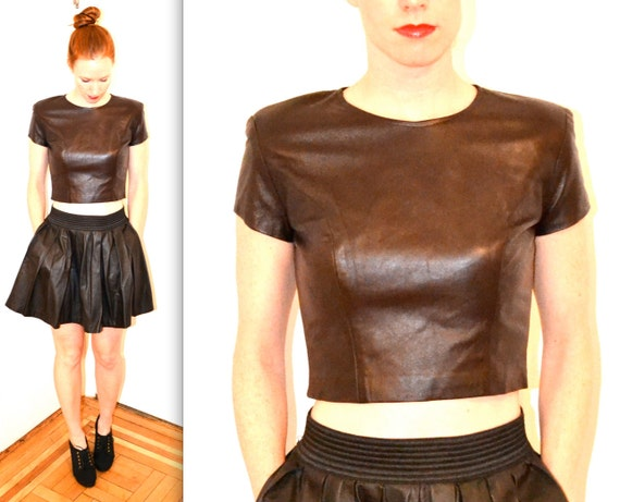 Reserved for Elizabeth Stunning Vintage Leather Shirt, Dark Brown Leather Crop Top, Size S