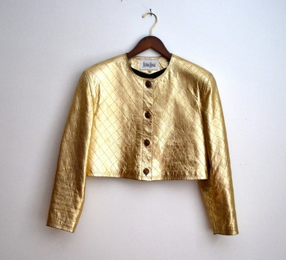 Vintage 80s Cropped Metallic Gold Leather Jacket, Size 8