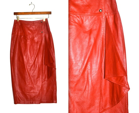 Vintage Red Leather Wrap Skirt Size Small