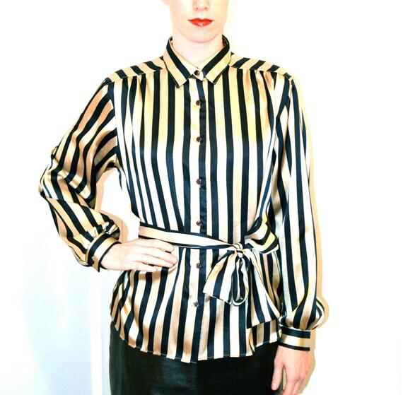 Vintage Tan and Black Vertical Striped Shirt Size Medium