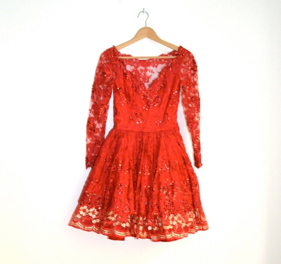 Scarlet Red 80s Prom Dress , Size XS// Vintage Sequin Dress size XS