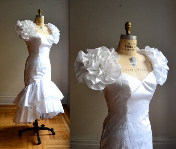 White 80s Prom Dress With Puff Sleeves White 80s Wedding