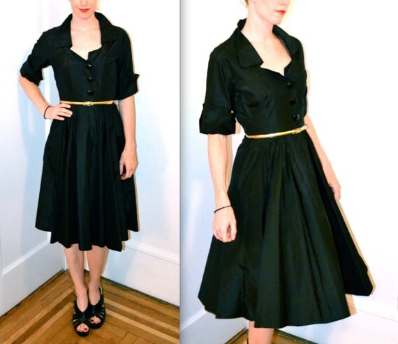 Vintage Mad Men 1940/50s Shirt Dress Size S// Black VIntage House Dress Size S