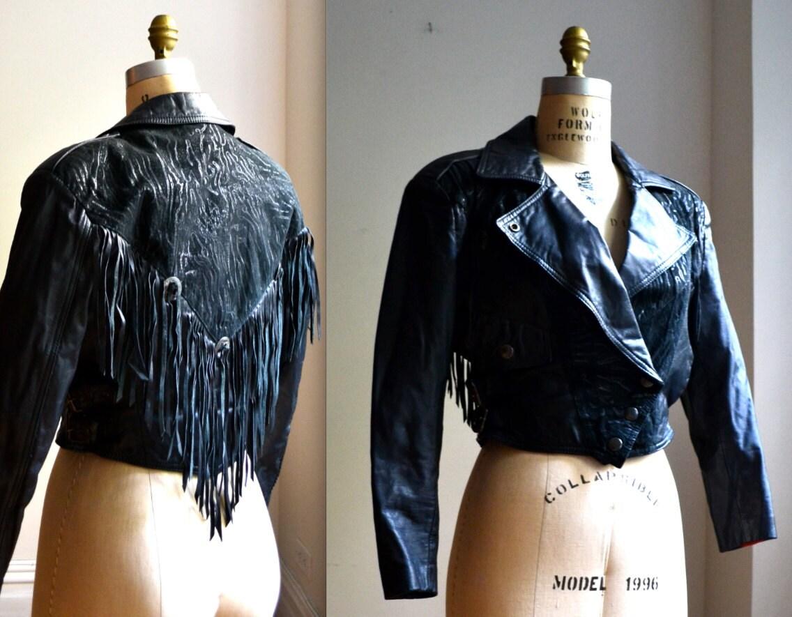 Leather jacket with fringe - 80s Black Leather Motorcycle Jacket With Fringe Vintage