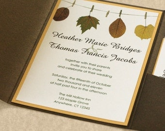 Autumn Wedding Invitation, Autumn Leaf Wedding Invitation, DEPOSIT