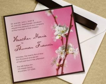 Cherry Blossom Wedding Invitation, Asian Wedding Invitation, Pink Wedding, DEPOSIT