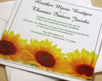 Sunflower Wedding Invitation, Floral Wedding, Autumn Wedding Invitation, DEPOSIT