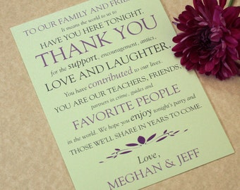 Wedding Place Setting Thank You Cards, Text Play Design, DEPOSIT