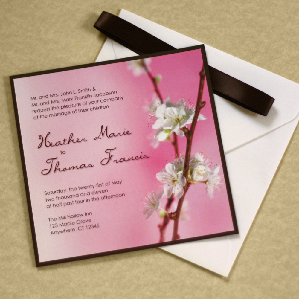 Cherry blossom wedding invitation asian wedding invitation for Chinese wedding invitations etsy