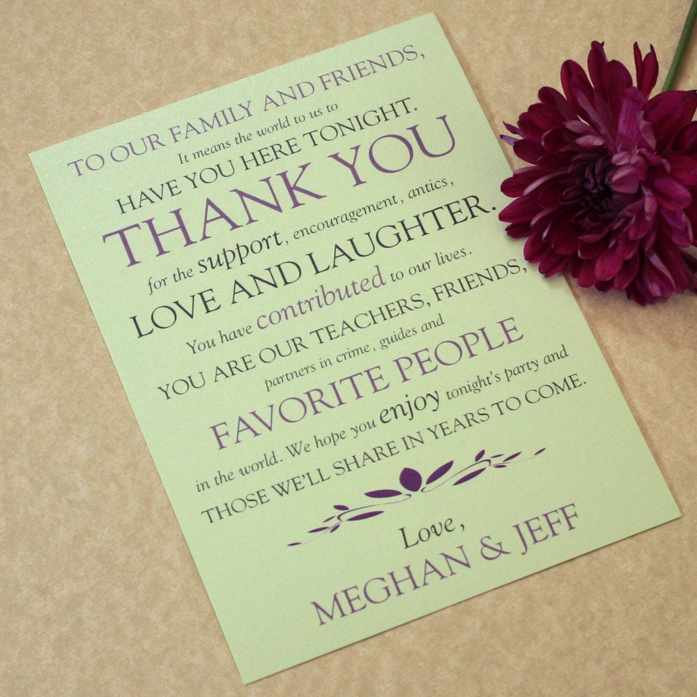 Wedding place setting thank you cards text play design for Place card for wedding