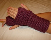 Hand Warmers, Fingerless Gloves in Dark Plum/Maroon