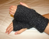 Hand Warmers, Fingerless Gloves in Charcoal/Black