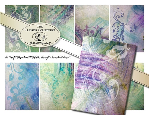 Acrylic Art Brushstrokes no.2, 2.5x3.5 ACEO size, Digital Collage Sheet - Instant Download and Print