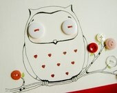 The Great Duke of Love original owl illustration on card canvas