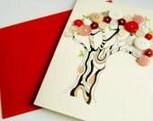 Button cherry tree original illustration on card canvas