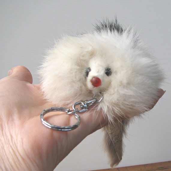 Vintage Fur Animal Keychain Key Ring