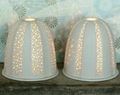 Large Striped Urchin White Porcelain Tea Light Holder. Pierced Ceramic Hand Made. Christmas Xmas Stoneware Night Light Votive Candle.