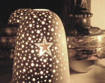 Medium size Xmas Star Tea Light Holder Night light white pierced porcelain.