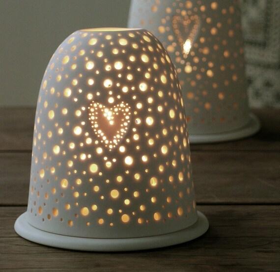 Items Similar To Small Porcelain Pierced Tea Light Holder