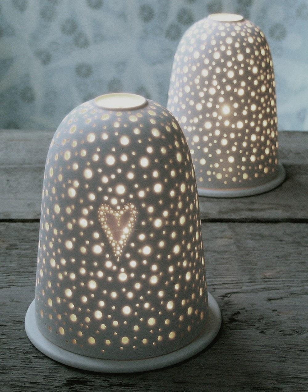Medium Valentines Tea Light Holder White Porcelain Ceramic