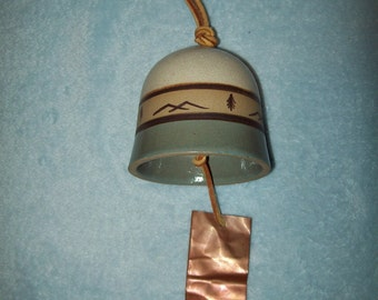 handmade ceramic pottery copper southwest bell windchime
