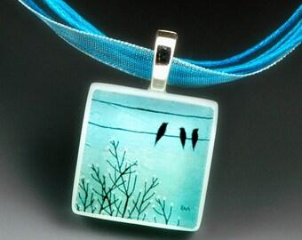 SPRING happy fun BIRDS - eco friendly glass photo necklace pendant