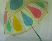 Clear Vintage Umbrella with Colored Raindrops
