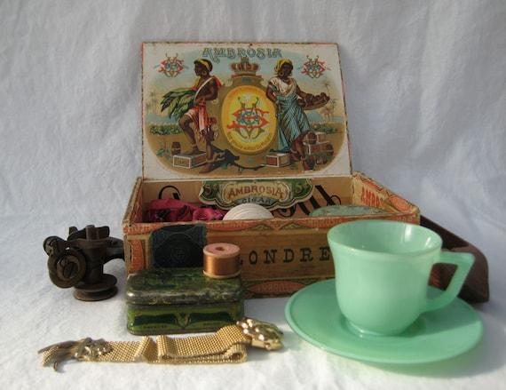 Curated box lot, a cigar box full of treasures