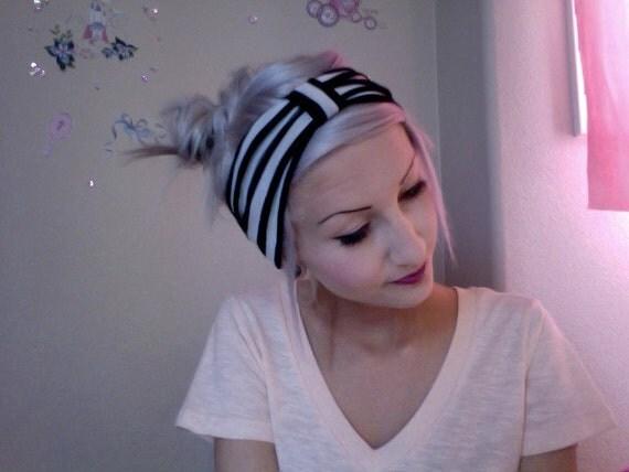 Black and white striped turban headband