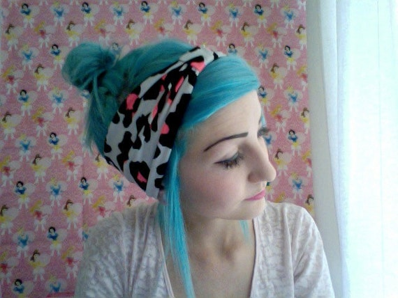 White and black and HOT PINK LEOPARD print stretchy knit jersey turban headband