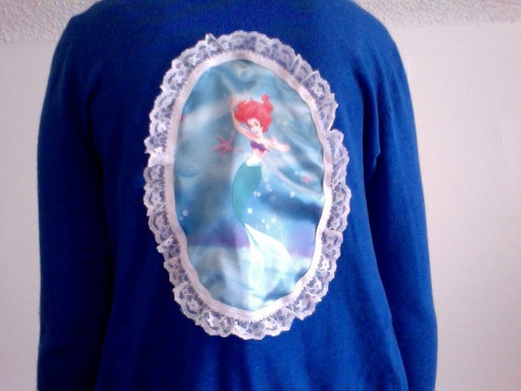 DISNEY PRINCESS ARIEL patch applique the little mermaid royal blue cardigan with red felt bow broach