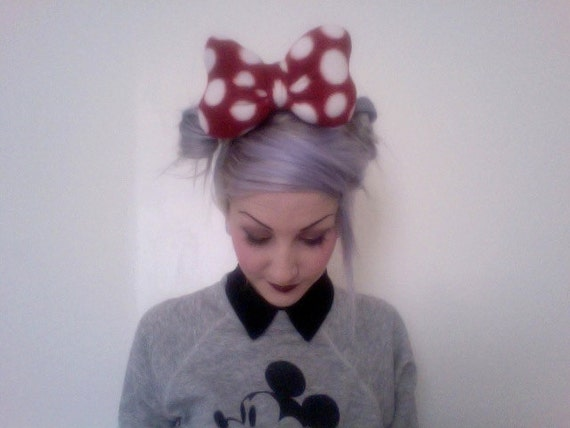 Amme B's original MINNIE MOUSE Disney inspired classic red with white polka dots big poofy hair bow clip