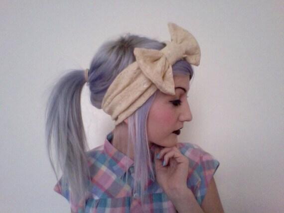 Nude lace thick bow turban headband head wrap