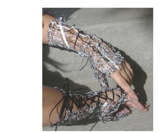 Custom Thread-web Lace Fingerless Gloves